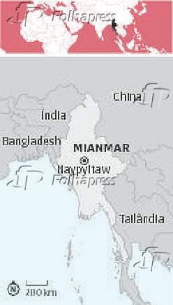 Mapa com a localização de Mianmar