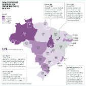 Taxa e estupros coletivos por 100 mil habitantes em 2016*