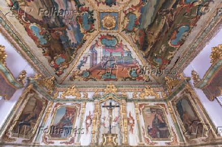 Vista interna da Igreja Matriz de Santo Antônio, na cidade de Tiradentes (MG)