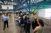 Fila do Bilhete Único na estação Palmeiras-Barra Funda