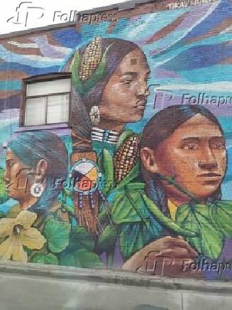 Mural 'Três Irmãs', dos chilenos Paula Tikay e Aner, em Toronto