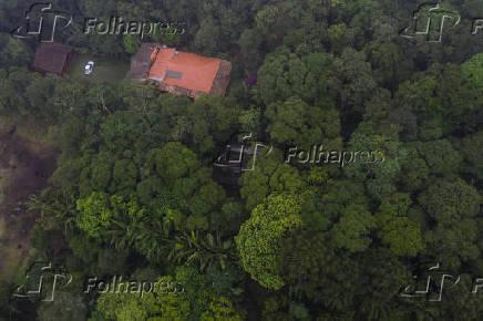 Vista aérea da chácara Los Fubangos, propriedade do Lula (PT) em São Bernardo do Campo