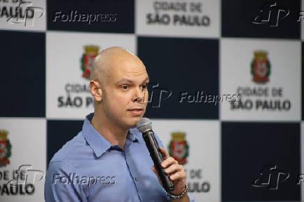 O prefeito de SP, Bruno Covas, durante evento na sede da prefeitura municipal