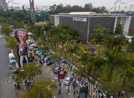 Protesto em frente da Assembleia Legislativa de SP contra aumento do ICMS