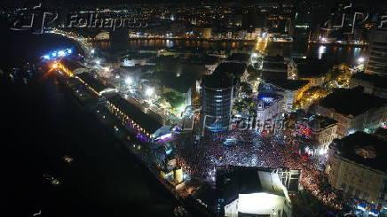 Vista aérea do Carnaval no Marco Zero