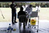 Campanha de vacinação contra a Covid-19 no parque do Carmo