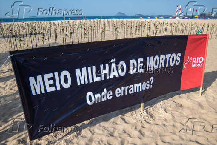 RIO TEM PROTESTO COM ROSAS PELOS 500 MIL MORTOS POR COVID-19