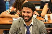 O deputado federal David Miranda (PSOL-RJ) em sessão na Câmara