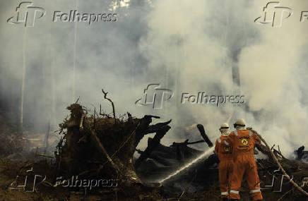 Brigadistas combatem queimada em área da zona sul de Porto Velho