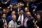 Davi Alcolumbre comemora a vitória na eleição para a presidência do Senado