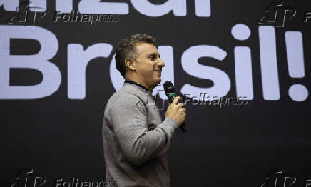 O apresentador da TV Globo Luciano Huck participa de evento em SP