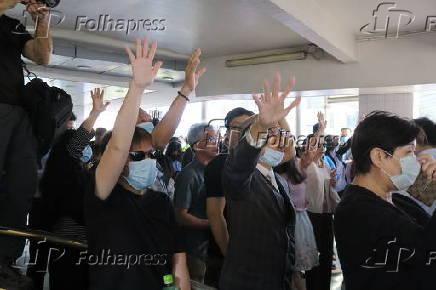 Manifestantes no começo de ato contra o governo em Hong Kong