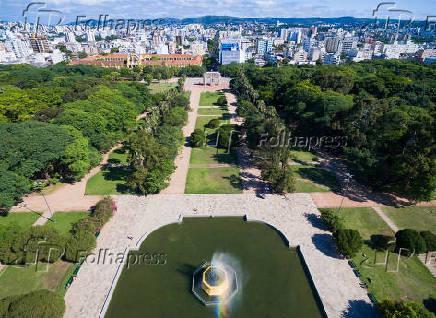 Vista aérea do Parque Farroupilha (Parque da Redenção) em Porto Alegre