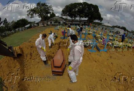 Enterros de vítimas da Covid-19 no cemitério Nossa Senhora Aparecida, em Manaus