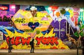 Vista do famoso Bowery Mural em Nova York, nos Estados Unidos