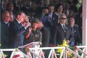 O presidente Jair Bolsonaro (PSL) participa de comemoração ao Dia do Exército