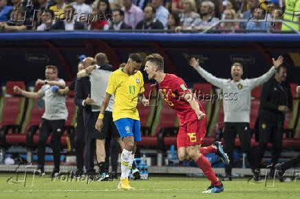Copa Russia 2018. Quartas de Finais. Brasil perde para Belgica por 2 x 1 no  Estadio Kazan Arena e esta eliminado da Copa. Neymar no final do jogo