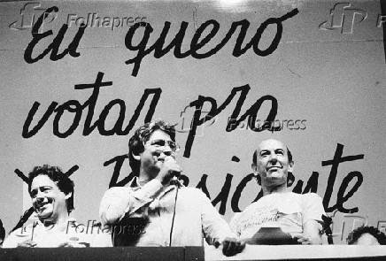 Fernando Henrique Cardoso, Mário Covas e Raul Cortez em comício da campanha pelas Diretas Já