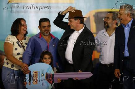 Bolsonaro em Goiânia com Weintraub e o governador Ronaldo Caiado (DEM)