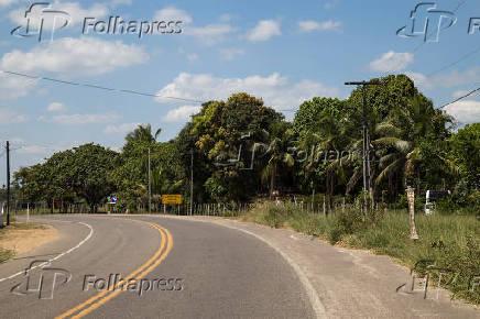 Vista da rodovia federal BR-420 na região do município de Cachoeira