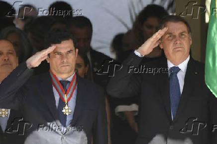 Jair Bolsonaro e o ministro da Justiça, Sergio Moro