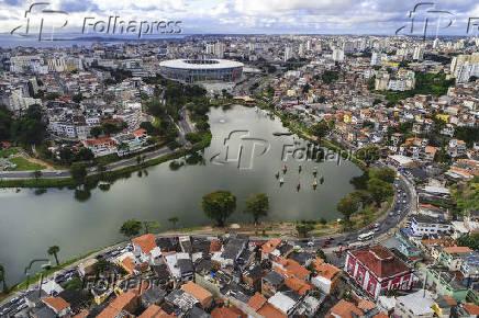 Vista aérea do bairro do Engenho Velho de Brotas, em Salvador (BA)