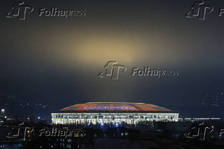 A general view shows Luzhniki Stadium in Moscow