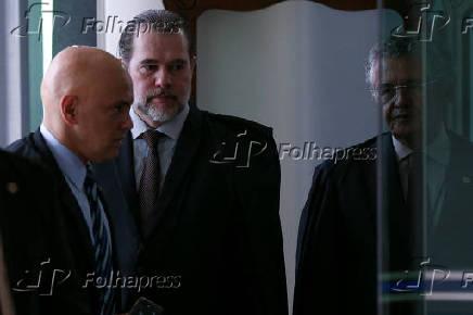 Os ministros Alexandre de Moraes e Dias Toffoli (dir.) no STF