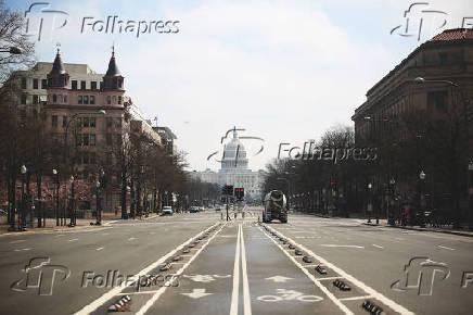 Ruas em Washington (EUA) vazias pelo receio de contágio do Covid-19