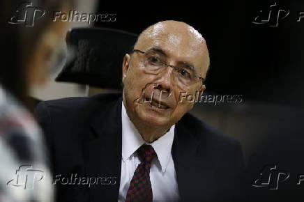 O ministro da Fazenda, Henrique Meirelles, durante entrevista à Folha