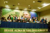 O candidato à Presidencia da Republica Jair Messias Bolsonaro durante encontro do Partido Social Liberal-PSL,  no Hotel Windsor na Barra da Tijuca no Rio de Janeiro