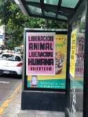 Cartaz colado em cima de propaganda de fast-food de frango em Buenos Aires