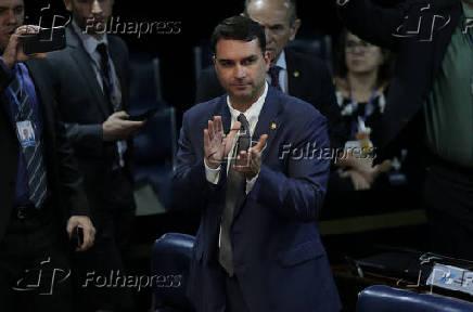 Flávio Bolsonaro durante escolha da Mesa Diretora no Senado