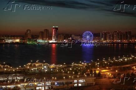 Vista desde o Kremlim de Cazã do amanhecer da cidade