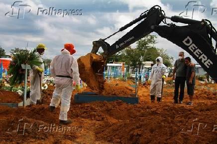 Enterro em Manaus, onde há disparada de casos de Covid