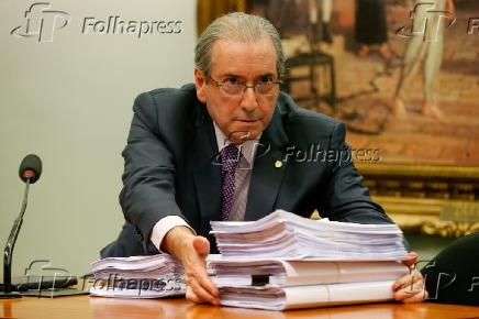 O ex-deputado Eduardo Cunha, em comissão da Câmara