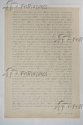 Página datilografada com texto inédito de Décio Pignatari