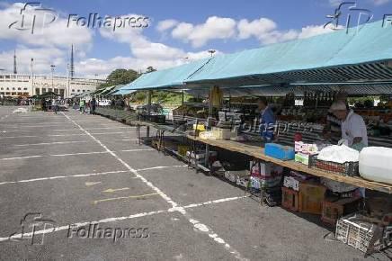 Movimento baixo em feira livre do Pacaembu (SP)