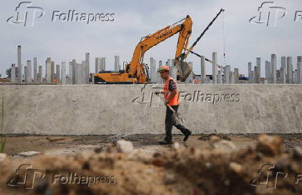 A general view of a construction site of the new soccer stadium in Nizhny Novgorod, Russia