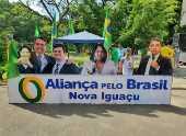 Placa da Aliança pelo Brasil em Nova Iguaçu traz a foto do ministro Sergio Moro