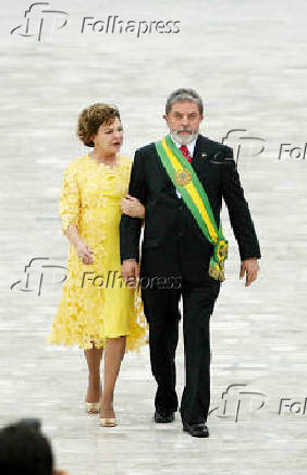 Posse de Luiz Inacio Lula da Silva, ao lado de  sua mulher Marisa Leticia