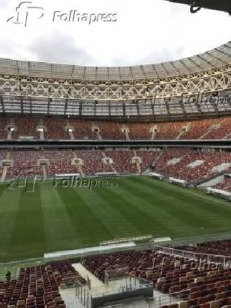 Vista interna do estádio Luzhniki, em Moscou, na Rússia