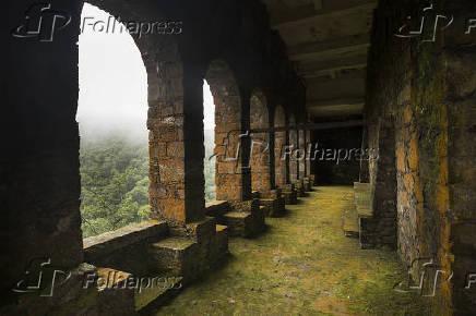 Arcos na parte de baixo do Pouso de Paranapiacaba, antigo ponto de parada