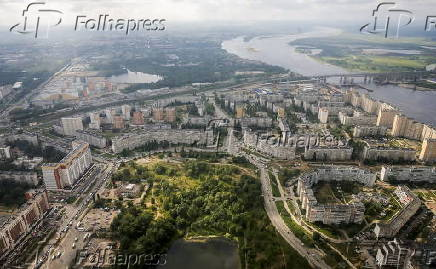 An aerial view of the town of Nizhny Novgorod