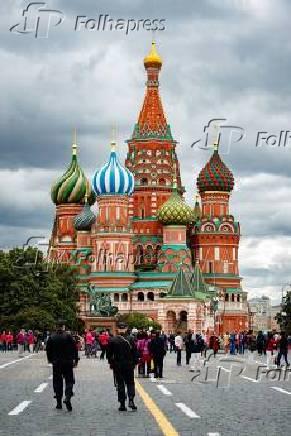 Vista externa da Catedral de São Basílio localizada na praça vermelha em Moscou