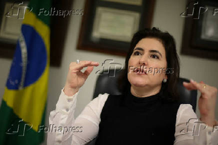 A senadora Simone Tebet (MDB-MS) durante entrevista à Folha