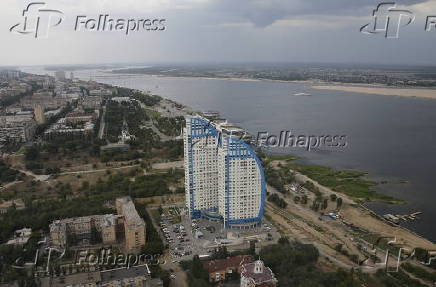Aerial view from helicopter shows residential complex in Volgograd