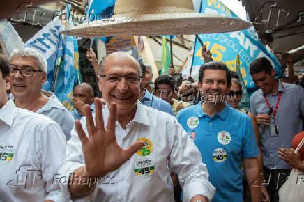 O presidenciável Geraldo Alckmin (PSDB) faz campanha no RJ