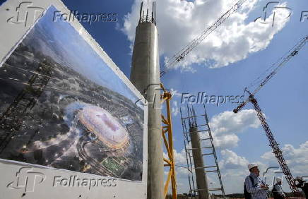 A view of a construction site of the new soccer stadium in the city of Rostov-on-Don, Russia