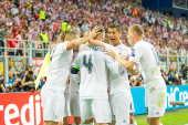 Jogadores do Real Madrid, comemoram gol marcado pelo Sergio Ramos contra o Atlético de Madrid